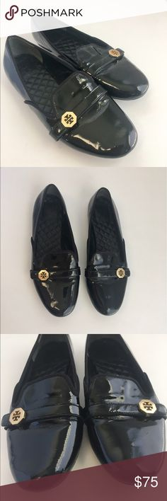 Tory Burch Loafers black patent leather quilted A great pair of Authentic Tory Burch black patent leather loafers / shoes. These have a little twist on a traditional loafer and look great with jeans or slacks. I love the quilted leather insoles! Marked size 9. Overall good used condition, the patent leather shows a few little scuffs here and there but nothing super noticeable, the exterior soles show wear. Please review photos and use them as part of the description. Sorry NO TRADES! Tory…