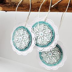 layered doily and snowflake dies . luv the delicate lacy look . would be lovely on a card, too Christmas Paper Crafts, Noel Christmas, Christmas Gift Tags, Handmade Christmas, Christmas Decorations, Christmas Ornaments, Card Tags, Craft Fairs, Gifts