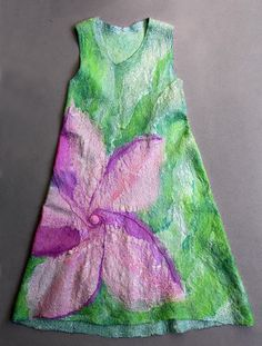 Nuno felting TUTORIAL wet felt making instructions pink green flower felted summer dress 3-7 year old girl * Felting Pattern Wet Felting diy