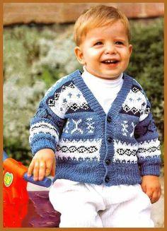 Озорные петельки: Бело - синий жакет для мальчика