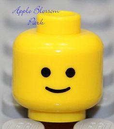 NEW Lego Classic Yellow MINIFIG HEAD City Minifigure Standard w/Black Eyes Smile