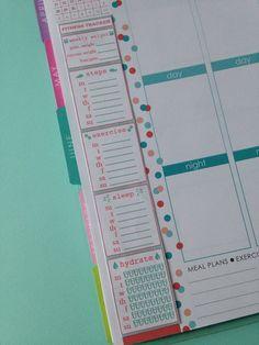 PRINTABLE Fitness Tracker Side Bar for Erin Condren Life Planner (PDF file)