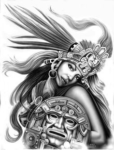 coloring for adults - kleuren voor volwassenen Chicano Drawings, Chicano Tattoos, Girl Drawings, Chicano Love, Chicano Art, Aztec Drawing, Aztec Tattoo Designs, Cholo Art, Latino Art