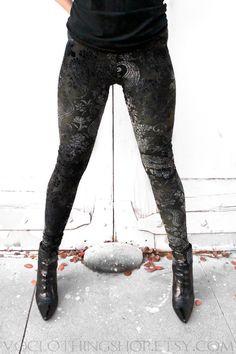 DEEP FOREST INDIGO velvet burnout leggings by voclothingshop on Etsy