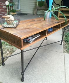 Could be made from a pallet, too! Reclaimed Wood Rustic Industrial Table, MyLove2Create