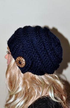 5a156df61f0 Slouchy Hat Slouch Beanie Button Hand Knit Winter Adult Teen Wool CHOOSE  COLOR Navy Dark Blue