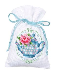 Floral Tea Pot Potpourri Bag/nice idea for gifting Cross Stitch Cards, Cross Stitch Rose, Cross Stitch Flowers, Cross Stitching, Cross Stitch Embroidery, Cross Stitch Patterns, Cross Stitch Kitchen, Lavender Bags, Cross Stitch Finishing