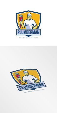 Plumberman Master Plumber Logo - Logos - 1. Plumberman Master Plumber Logo. Logo showing illustration of a plumber wearing hat holding monkey wrench facing front set inside shield crest on isolated background done in retro style. #logoillustration #Plumberman