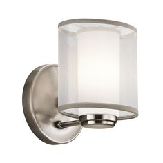 Kichler Sconce with White Glass Shade in Classic Pewter Finish | 42924CLP | Destination Lighting