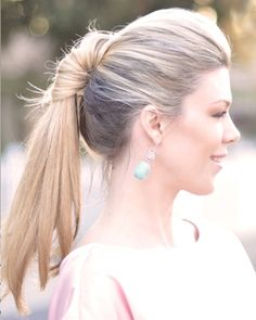 Ponytail Hairstyle: Looks good, easy to tie! Just divide hair into sections. Tie pony with the hair on top of your head. Tie a pony on the lower half. Open the top pony and tie it around the lower pony. Slowly twist it down for this look.