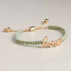 Mint and Gold Love Friendship Bracelet at Cost Plus World Market >> #WorldMarket Fashion, Jewelry