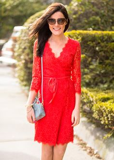 Sarah Vickers of Classy Girls Wear Pearls wearing the Julianna Lace Wrap Dress in Hot Coral