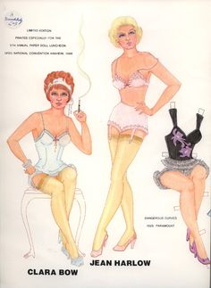 CLARA BOW & JEAN HARLOW PAPER DOLLS | Marges8's Blog