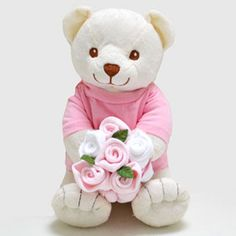 Baby Gifts | Newborn Baby Girl Gift - Teddy Bear Pink Sock Bouquet
