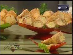 Palmirinha - Canudinhos Recheados - Tv Culinária 2007 - YouTube Potato Salad, Pastel, Chocolate, Ethnic Recipes, Bananas, Quiche, Food, Tv, Youtube
