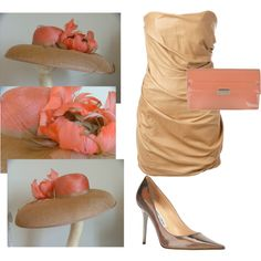 Bronze Coral Peach Derby Outfit with Bronze Hat