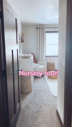 Baby Nursery Decor, Curtains In Nursery, Baby Nursery Ideas For Girl, Nursery Room Ideas, Simple Baby Nursery, Nursery Set Up, Boho Nursery, Baby Room Neutral, Nursery Neutral