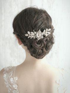 GRETTA - Vintage Inspired Silver Bridal Haircomb