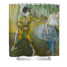 """Harlequin And Columbine Shower Curtain by Edgar Degas.  This shower curtain is made from 100% polyester fabric and includes 12 holes at the top of the curtain for simple hanging.  The total dimensions of the shower curtain are 71"""" wide x 74"""" tall."""
