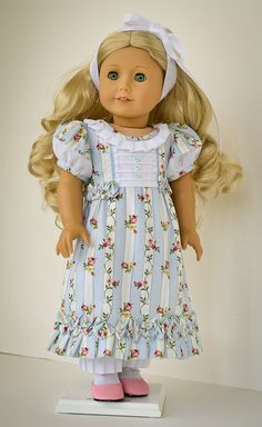 Blue Day Dress, Embroidered Pantalettes and Headband for Caroline by AnnasGirls on Etsy, $100.00 Reserved for CTS