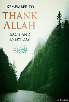 Remember to thank Allah each and everyday. We are blessed with so many things..always say Allhamdilillah