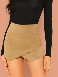 Overlap Front Zip Back Corduroy Shorts - Women Short - Men Fashion News, Fashion Outfits, Womens Fashion, Fashion Fashion, Vintage Fashion, Skirt Outfits, Cute Outfits, Short Skirts, Short Dresses