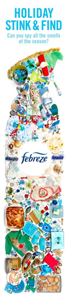 Tis the season for lots of smells—can you find them all? Then clean 'em away with Febreze.   Can you find… A sponge? 5 dog bones? An empty toilet paper roll? 2 army men? 14 fish? An onion? A corgi? A drumstick? 1 burnt oven mitt? 1 dirty potholder? What about the can of Febreze Air Effects that'll freshen up the holidays?