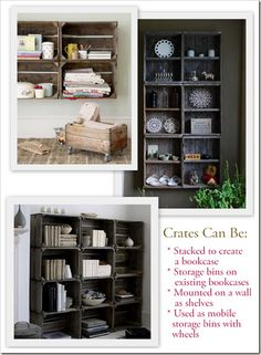 Crates!  with a how to on building your own from pallet wood.