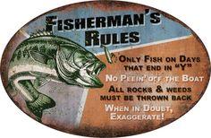 Fisherman Rules Metal Tin Sign Man Cave Bar Garage Fishing Cabin Decor Gift