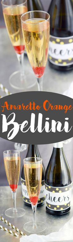 This Amaretto Orange Bellini is a super fast cocktail that is going to be your new favorite way to drink champagne! Wine Cocktails, Non Alcoholic Drinks, Cocktail Drinks, Cocktail Recipes, Amaretto Drinks, Sangria, Drink Recipes, Summer Drinks, Fun Drinks