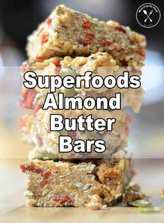 Superfoods Almond Butter Bars - Meal Prep on Fleek™ Gluten Free Recipes For Lunch, Vegan Dessert Recipes, Vegan Breakfast Recipes, Vegan Snacks, Snack Recipes, Healthy Recipes, Breakfast Ideas, Dinner Recipes, Free Breakfast