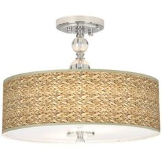 """Seagrass Giclee 16"""" Wide Semi-Flush Ceiling Light. for Bedroom"""