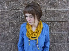 Crochet Knit Infinity Bohemian Scarf Necklace  by Abrahamsson Co, $20.00