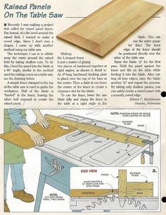 Raised Panels on Table Saw - Cabinet Door Construction Techniques | WoodArchivist.com Wood Turning Lathe, Wood Turning Projects, Woodworking Tips, How To Make Notes, Eye Protection, Helpful Tips, Eyes, Carpenter, Trips