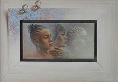 Poen de Wijs (1948 - 2014) African races II, olieverf, 20 x 10