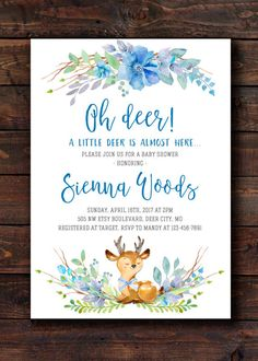 Invite your guests with this beautiful oh deer a little buck is almost here baby shower sprinkle invitation featuring blue and green watercolor leaves and baby deer, perfect for a woodland themed baby sprinkle or shower for a boy.  Adorable watercolor animal artworks by StarJamforKids.etsy.com Need your order within 1 Day? Order Rush Delivery: https://www.etsy.com/listing/387050410/rush-my-order-add-on-item Find Matching Book Requests, Diaper Raffle Tickets, Games &a...