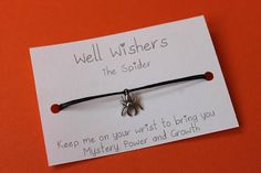 ♥ The message on the card is inspired by the charm and what it symbolises. For example : The Spider - Keep me on your wrist you bring you Mystery, Power and Growth. Wish Gifts, Wish Bracelets, Travel Gifts, Friendship Bracelets, Spider, Texts, Insects, Mystery, My Etsy Shop