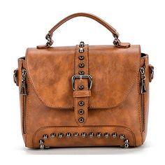 36e5988ba11 Hibelief Women Cross Body Purse Handbags Rivet Shoulder Bags Vintage Leer,  Vintage Dames, Lederen
