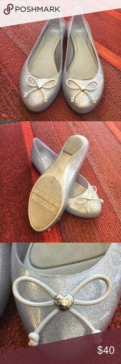 Mel B by Melissa Pop Bow - silver glitter flats Very comfortable Melissa flats in silver/clear/sparkle. They smell so good (true Melissa wearers will know what I'm talking about!) worn a handful of times! Melissa Shoes Flats & Loafers