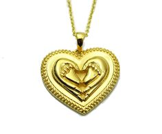 Mom Mother Baby Feet Gold Tone Heart Gift for Mom Necklace - Auralee Company