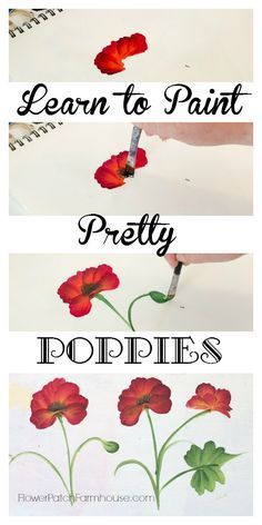 Learn How to Paint a Pretty Poppy, one simple stroke at a time. Come paint with me! FlowerPatchFarmhouse.com