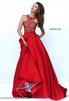 Red prom dress. Sherri Hill - 50106. Red, long evening gown. Prom dress. Prom dress with collared neckline. Beaded bodice. Red military ball gown. Ballgown. Red ballgown.