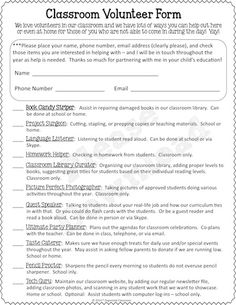 Volunteer Form that includes options for school-based volunteers AND home volunteers for those parents that might work during the day. Parent Volunteer Form, Classroom Volunteer, Parent Teacher Communication, Classroom Fun, Volunteer Teacher, Volunteer Gifts, Classroom Freebies, Volunteer Appreciation, Classroom Behavior