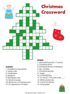 Here is a cute printable Christmas crossword for your students or children.  It has nineteen clues, fun graphics, and would be good for 8 to 12 year olds.
