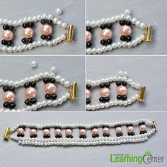 Step 4: Decorate the outside part of this beaded pearl bracelet