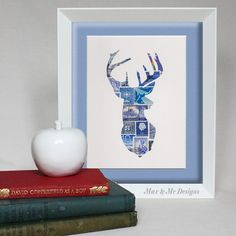 Oh Deer - Unique Vintage postage stamp art. Perfect for gift for Fathers day, anniversary, birthday or housewarming - Max & Me Designs