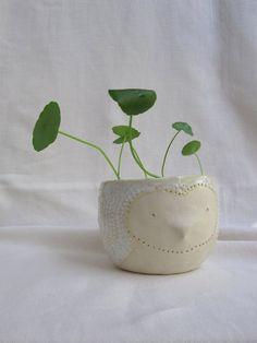 Small owl planter, ceramic. $35.00, via Etsy.