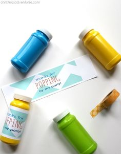 Super cute free printable- 'thanks for POPPING by my party!' - wrapped around bubble containers!