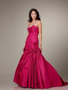 Ball Gown One Shoulder Taffeta Red Prom Gown