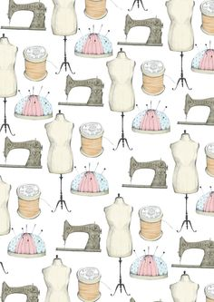 Sewing Pattern by Samara Hardy Sewing Art, Sewing Crafts, Sewing Projects, Wood Working For Beginners, Sewing For Beginners, Sewing Patterns Free, Print Patterns, Vintage Sewing Machines, Pattern Illustration
